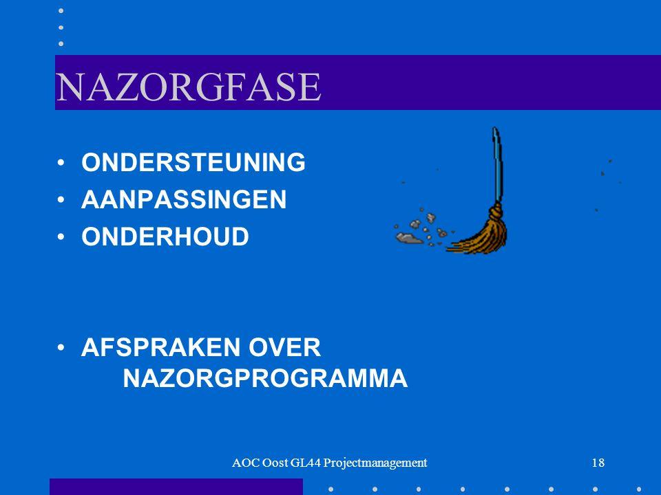 18 NAZORGFASE ONDERSTEUNING AANPASSINGEN ONDERHOUD AFSPRAKEN OVER NAZORGPROGRAMMA AOC Oost GL44 Projectmanagement