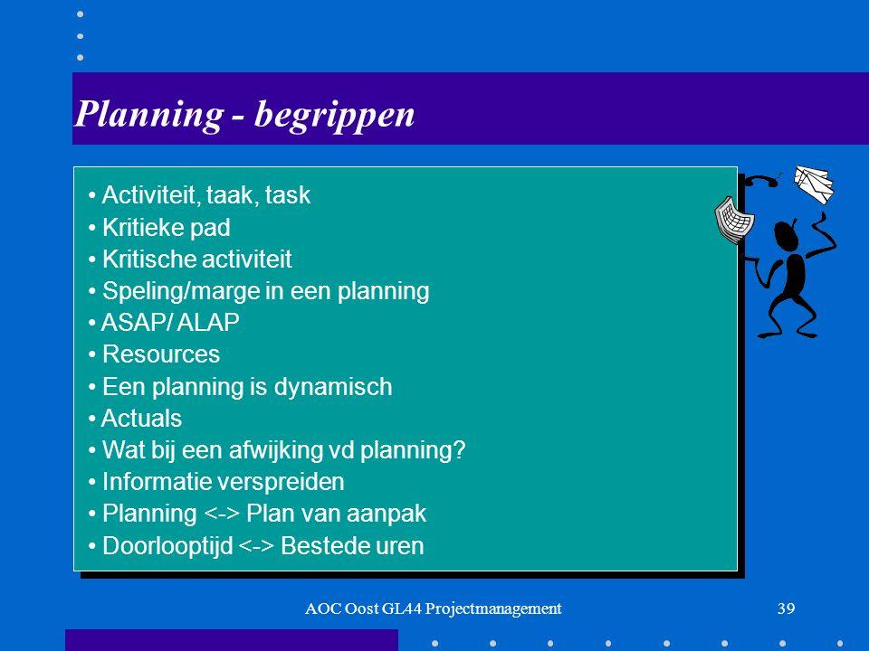 39 Planning - begrippen Activiteit, taak, task Kritieke pad Kritische activiteit Speling/marge in een planning ASAP/ ALAP Resources Een planning is dynamisch Actuals Wat bij een afwijking vd planning.
