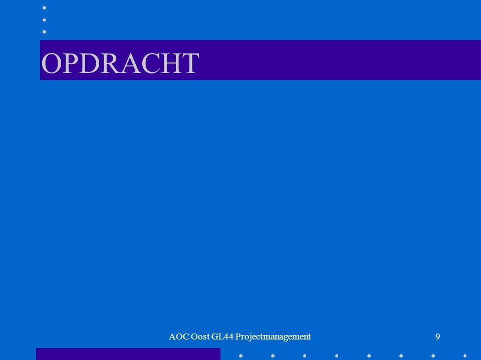 30 Matrixorganisatie Maximaal ingericht op projectmatig werken Projectgroepen worden uit afdelingen samengesteld AOC Oost GL44 Projectmanagement