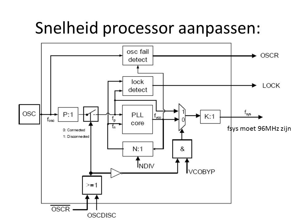 Snelheid processor aanpassen: fsys moet 96MHz zijn
