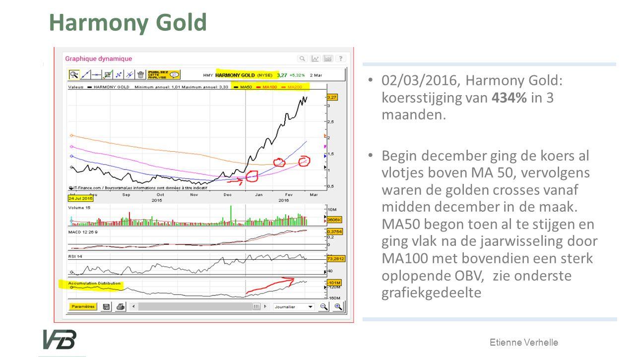 Etienne Verhelle Harmony Gold 02/03/2016, Harmony Gold: koersstijging van 434% in 3 maanden.