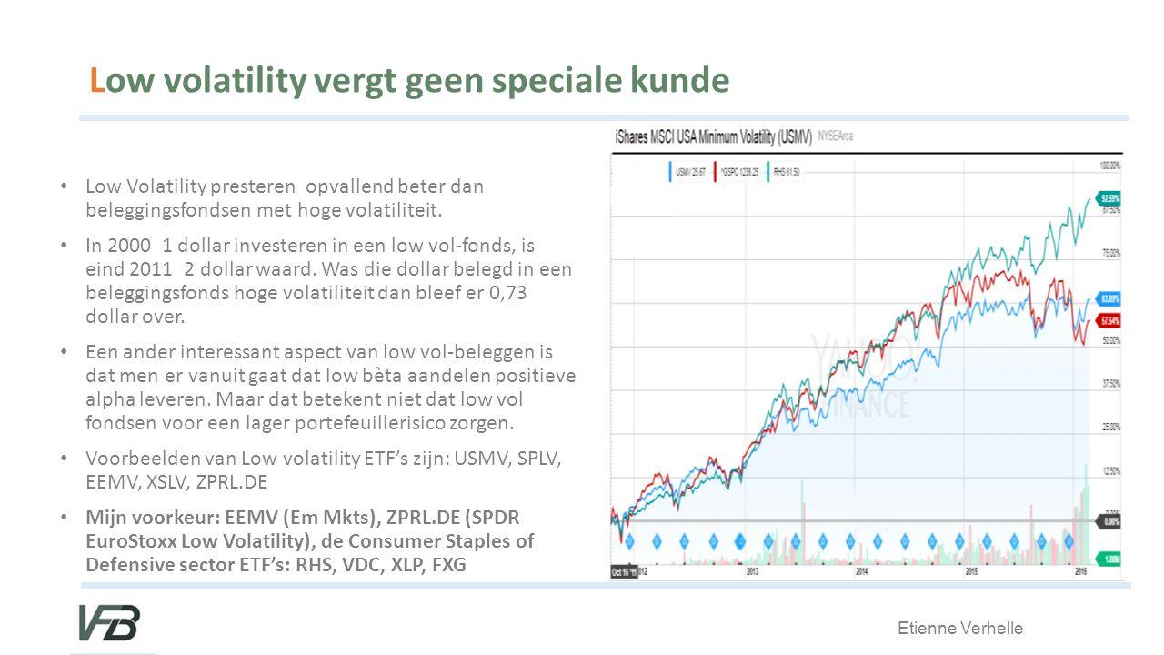 Etienne Verhelle Low volatility vergt geen speciale kunde Low Volatility presteren opvallend beter dan beleggingsfondsen met hoge volatiliteit.