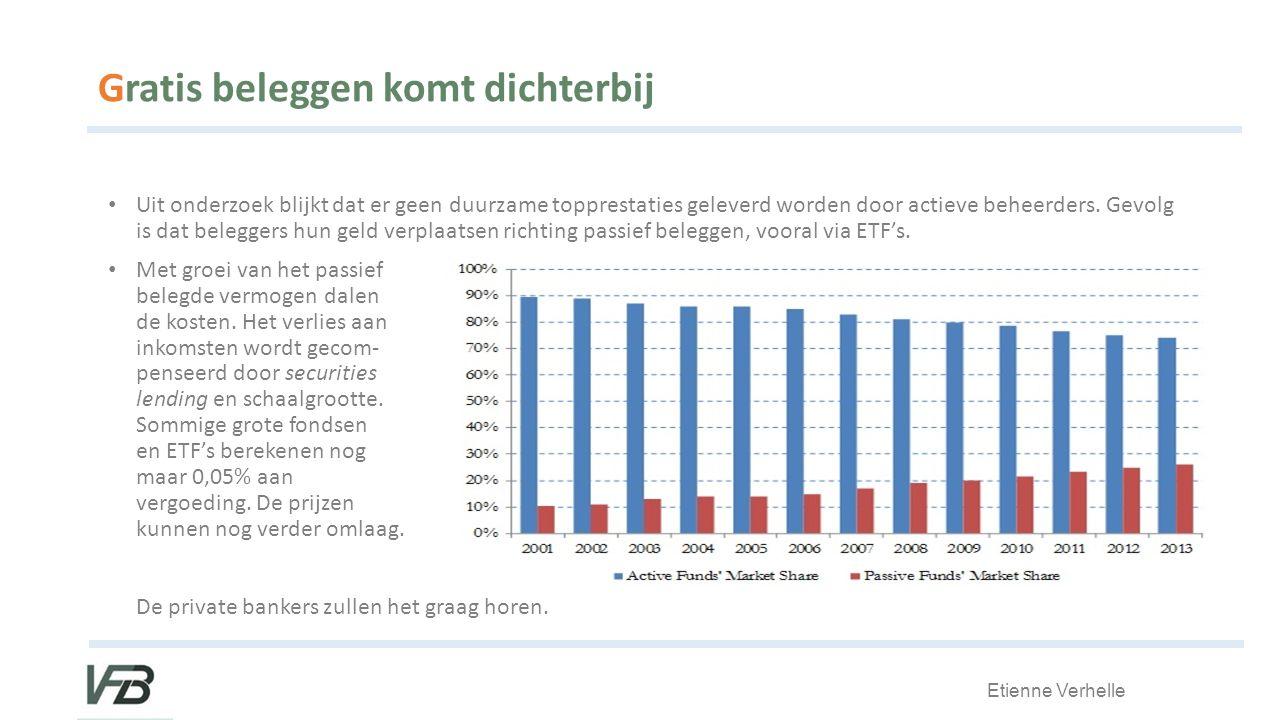Etienne Verhelle Gratis beleggen komt dichterbij Uit onderzoek blijkt dat er geen duurzame topprestaties geleverd worden door actieve beheerders.