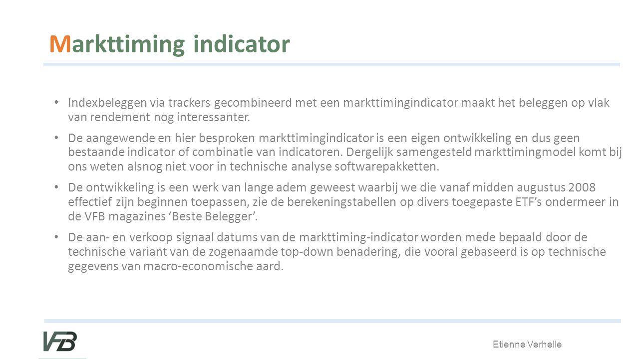 Etienne Verhelle Markttiming indicator Indexbeleggen via trackers gecombineerd met een markttimingindicator maakt het beleggen op vlak van rendement nog interessanter.