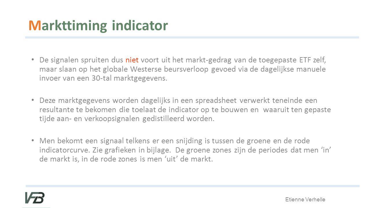 Etienne Verhelle Markttiming indicator De signalen spruiten dus niet voort uit het markt-gedrag van de toegepaste ETF zelf, maar slaan op het globale Westerse beursverloop gevoed via de dagelijkse manuele invoer van een 30-tal marktgegevens.