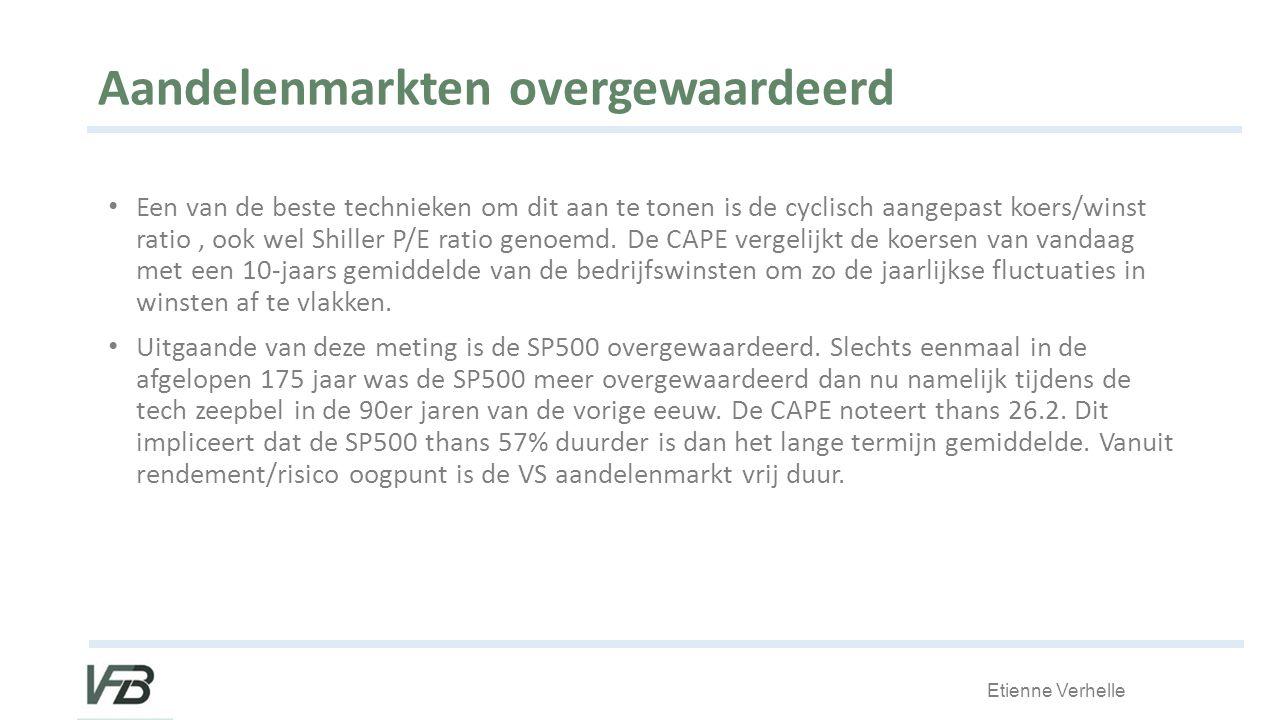 Etienne Verhelle Aandelenmarkten overgewaardeerd Een van de beste technieken om dit aan te tonen is de cyclisch aangepast koers/winst ratio, ook wel Shiller P/E ratio genoemd.