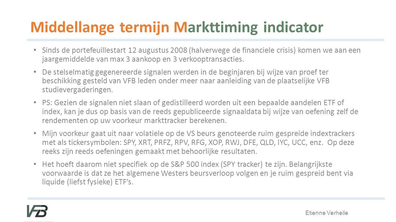 Etienne Verhelle Middellange termijn Markttiming indicator Sinds de portefeuillestart 12 augustus 2008 (halverwege de financiele crisis) komen we aan een jaargemiddelde van max 3 aankoop en 3 verkooptransacties.
