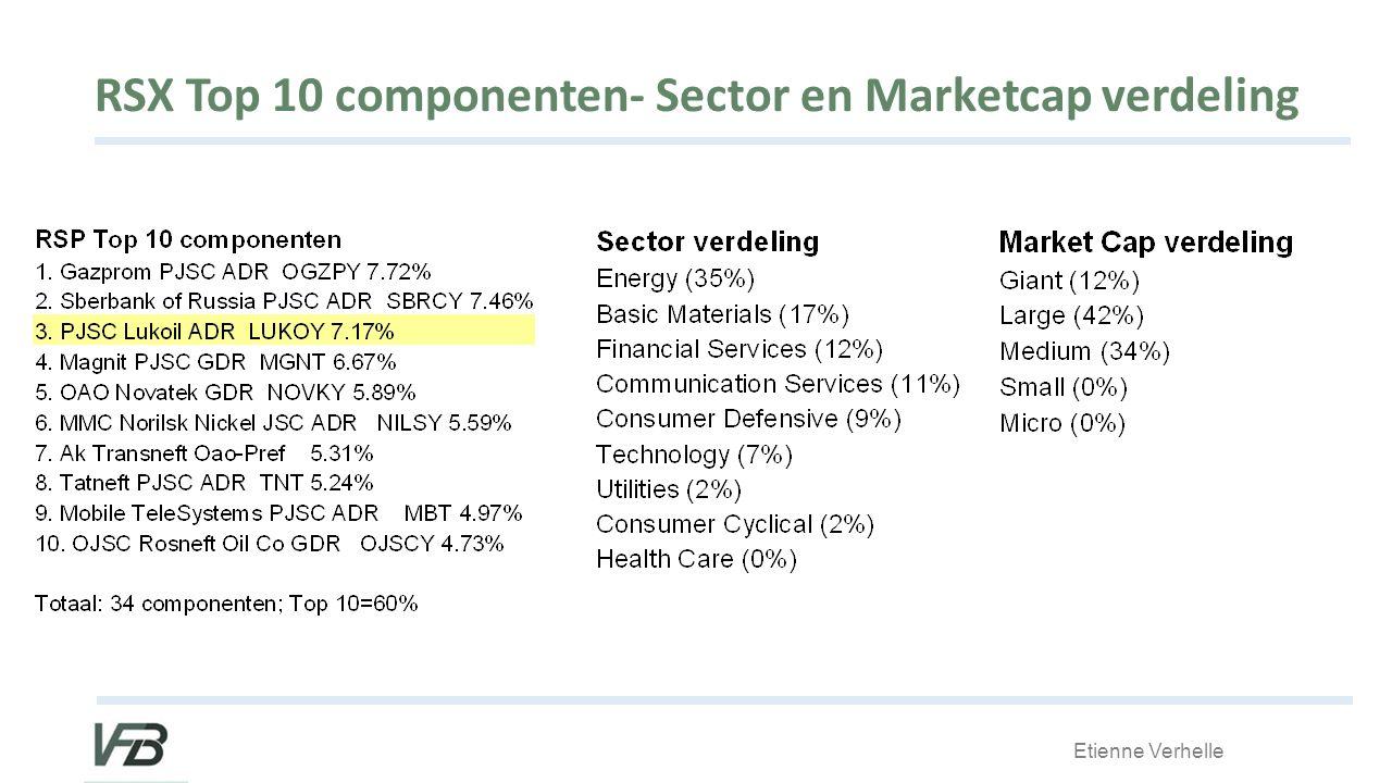 Etienne Verhelle RSX Top 10 componenten- Sector en Marketcap verdeling