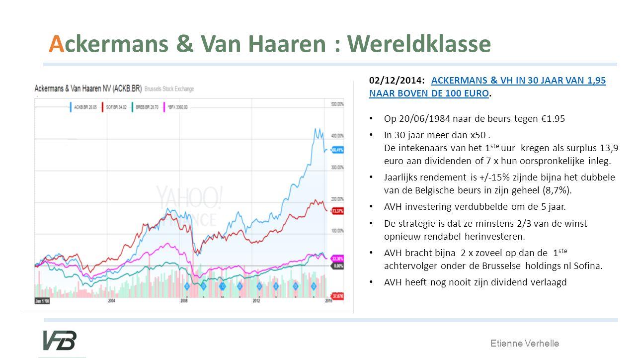 Etienne Verhelle Ackermans & Van Haaren : Wereldklasse 02/12/2014: ACKERMANS & VH IN 30 JAAR VAN 1,95 NAAR BOVEN DE 100 EURO.ACKERMANS & VH IN 30 JAAR VAN 1,95 NAAR BOVEN DE 100 EURO Op 20/06/1984 naar de beurs tegen €1.95 In 30 jaar meer dan x50.