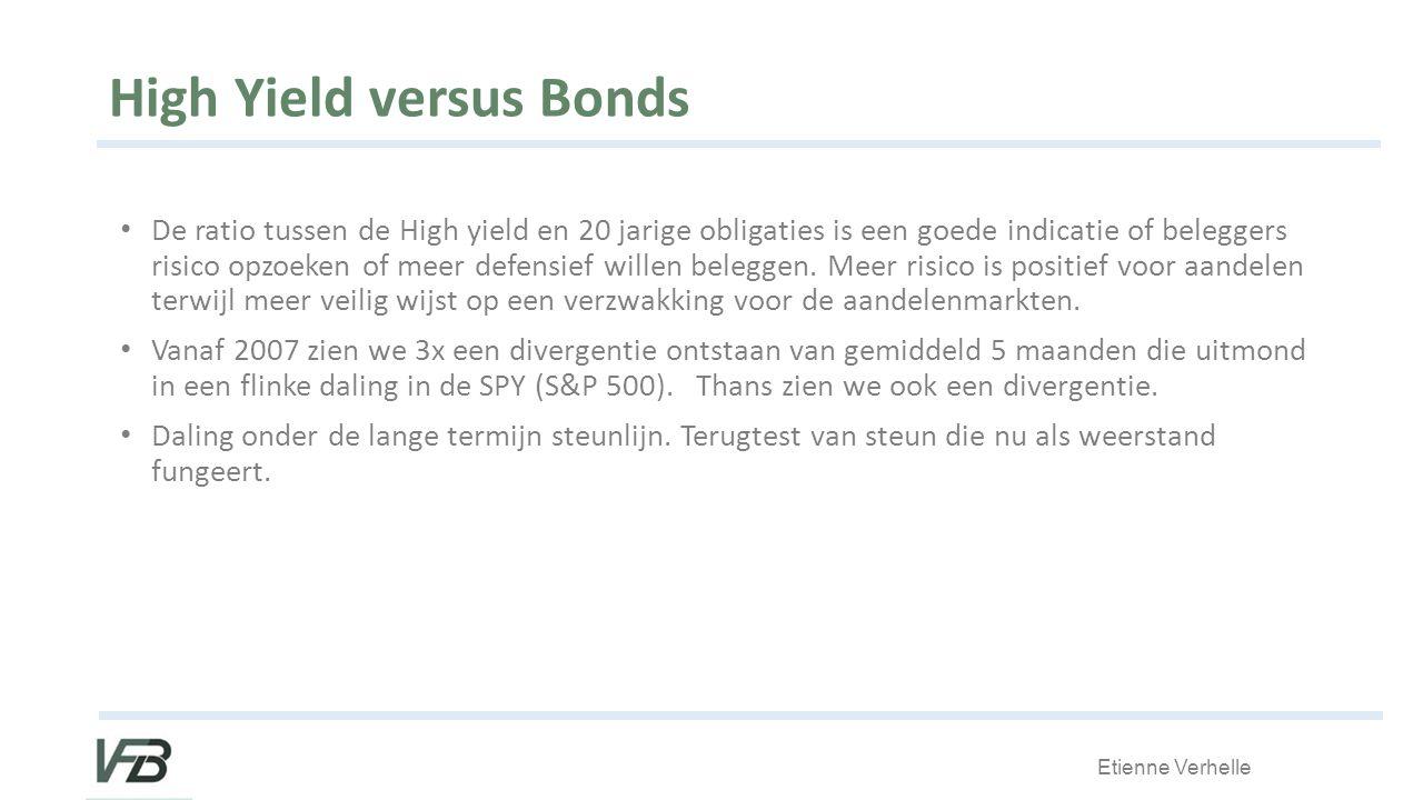 Etienne Verhelle High Yield versus Bonds De ratio tussen de High yield en 20 jarige obligaties is een goede indicatie of beleggers risico opzoeken of meer defensief willen beleggen.