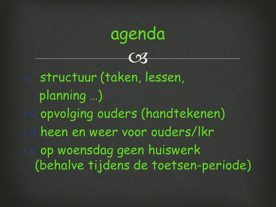   structuur (taken, lessen, planning …)  opvolging ouders (handtekenen)  heen en weer voor ouders/lkr  op woensdag geen huiswerk (behalve tijdens de toetsen-periode) agenda