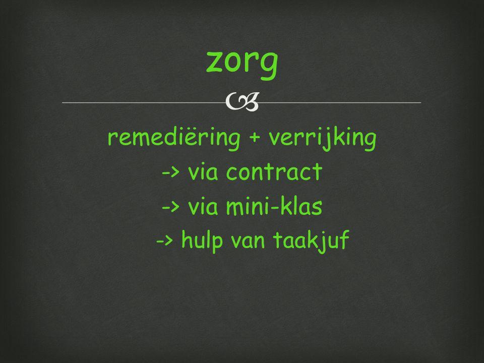  remediëring + verrijking -> via contract -> via mini-klas -> hulp van taakjuf zorg