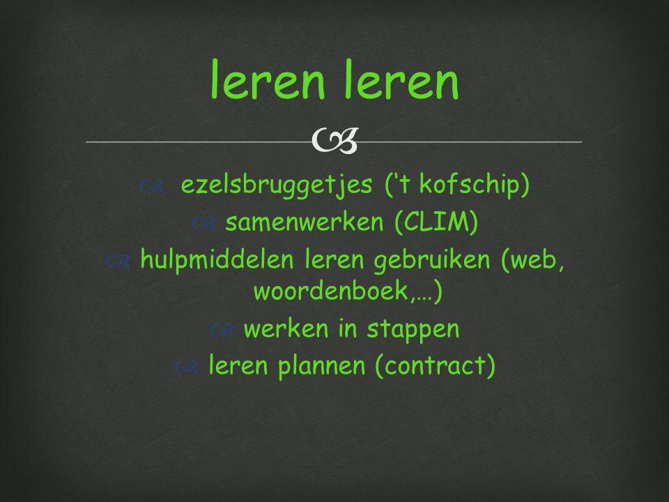   ezelsbruggetjes ('t kofschip)  samenwerken (CLIM)  hulpmiddelen leren gebruiken (web, woordenboek,…)  werken in stappen  leren plannen (contract) leren