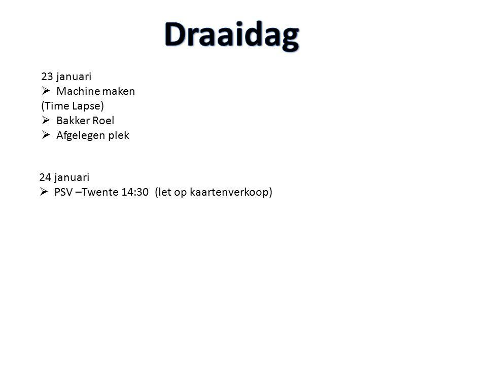 24 januari  PSV –Twente 14:30 (let op kaartenverkoop) 23 januari  Machine maken (Time Lapse)  Bakker Roel  Afgelegen plek