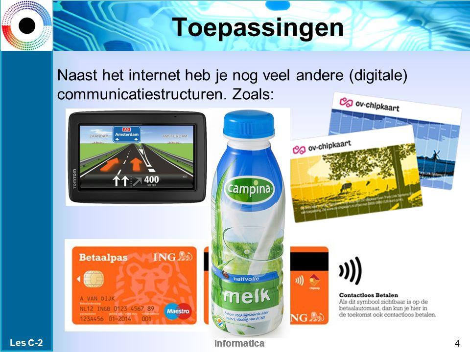 informatica RFID verzameling Er kan onderscheid gemaakt worden in Smart label (passieve tags) Smart card (actieve tags) NFC (Near Field Communication) Les C-2 25 Inhoud 0/1/2G 3G 4G UMTS GPS barcode RFID sm.label sm.card NFC