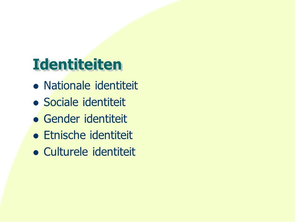 Identiteiten Nationale identiteit Sociale identiteit Gender identiteit Etnische identiteit Culturele identiteit
