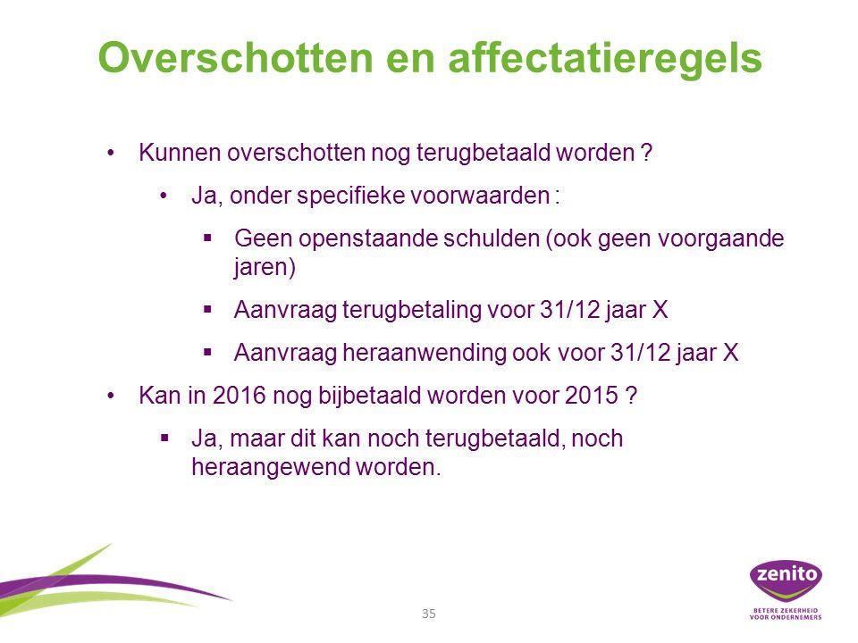 Overschotten en affectatieregels 35 Kunnen overschotten nog terugbetaald worden .