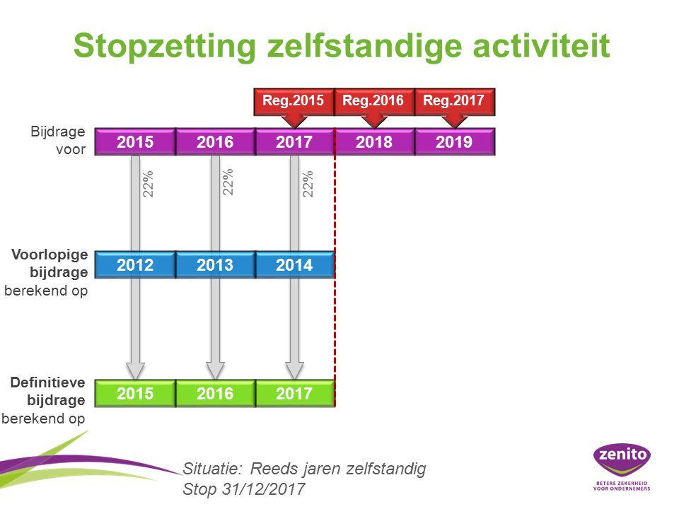 Stopzetting zelfstandige activiteit 20152016201720182019 201220132014 201520162017 Bijdrage voor Voorlopige bijdrage berekend op Definitieve bijdrage berekend op 22% Reg.2015Reg.2016Reg.2017 Situatie:Reeds jaren zelfstandig Stop 31/12/2017