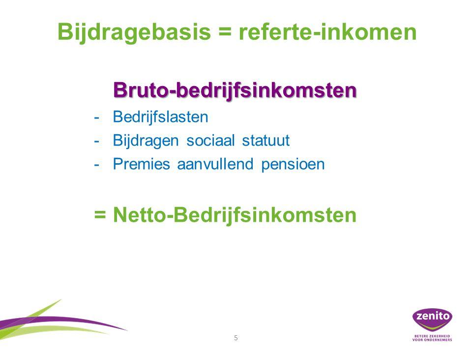 5 Bijdragebasis = referte-inkomen Bruto-bedrijfsinkomsten - -Bedrijfslasten - -Bijdragen sociaal statuut - -Premies aanvullend pensioen = Netto-Bedrijfsinkomsten