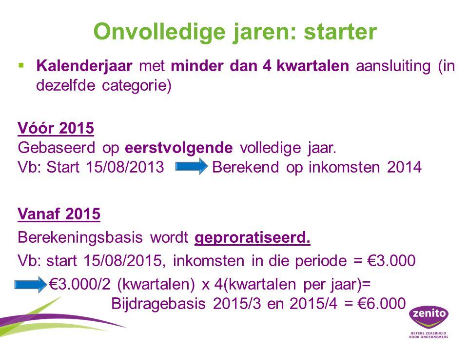 Onvolledige jaren: starter   Kalenderjaar met minder dan 4 kwartalen aansluiting (in dezelfde categorie) Vóór 2015 Gebaseerd op eerstvolgende volledige jaar.