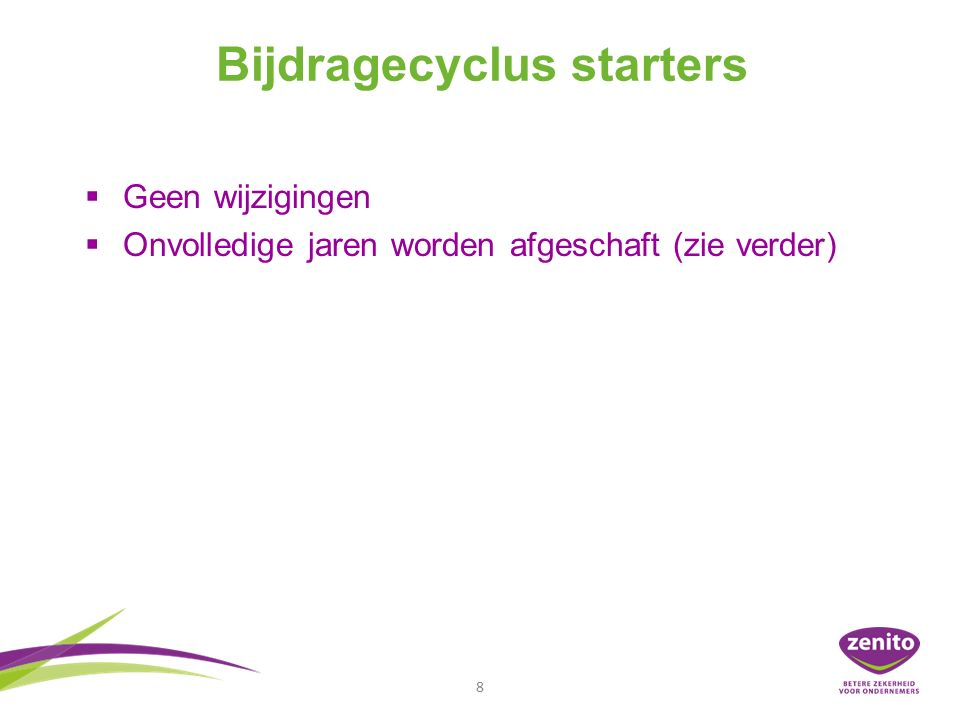 Bijdragecyclus starter t.e.m.