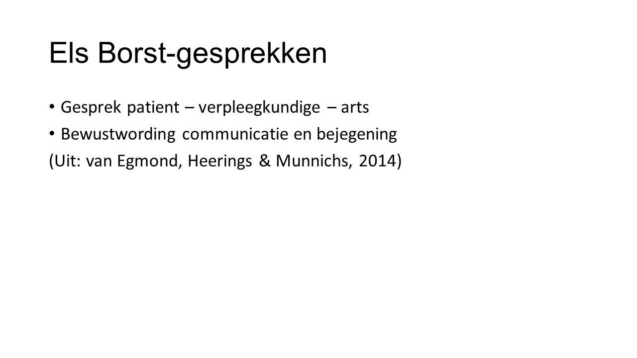 Els Borst-gesprekken Gesprek patient – verpleegkundige – arts Bewustwording communicatie en bejegening (Uit: van Egmond, Heerings & Munnichs, 2014)