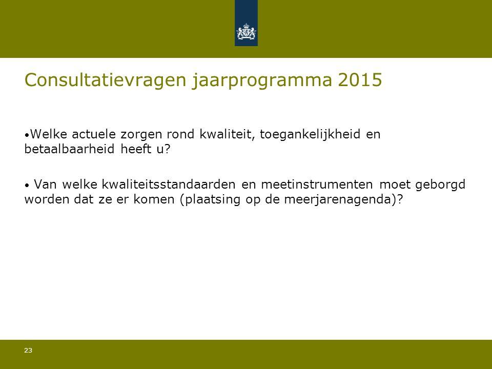 23 Consultatievragen jaarprogramma 2015 Welke actuele zorgen rond kwaliteit, toegankelijkheid en betaalbaarheid heeft u.