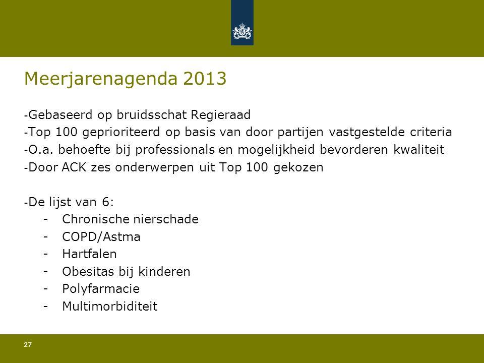 27 Meerjarenagenda 2013 - Gebaseerd op bruidsschat Regieraad - Top 100 geprioriteerd op basis van door partijen vastgestelde criteria - O.a.
