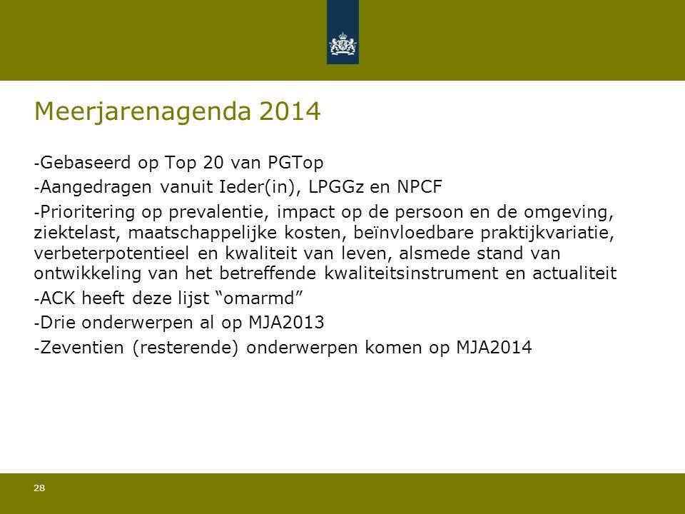 28 Meerjarenagenda 2014 - Gebaseerd op Top 20 van PGTop - Aangedragen vanuit Ieder(in), LPGGz en NPCF - Prioritering op prevalentie, impact op de persoon en de omgeving, ziektelast, maatschappelijke kosten, beïnvloedbare praktijkvariatie, verbeterpotentieel en kwaliteit van leven, alsmede stand van ontwikkeling van het betreffende kwaliteitsinstrument en actualiteit - ACK heeft deze lijst omarmd - Drie onderwerpen al op MJA2013 - Zeventien (resterende) onderwerpen komen op MJA2014