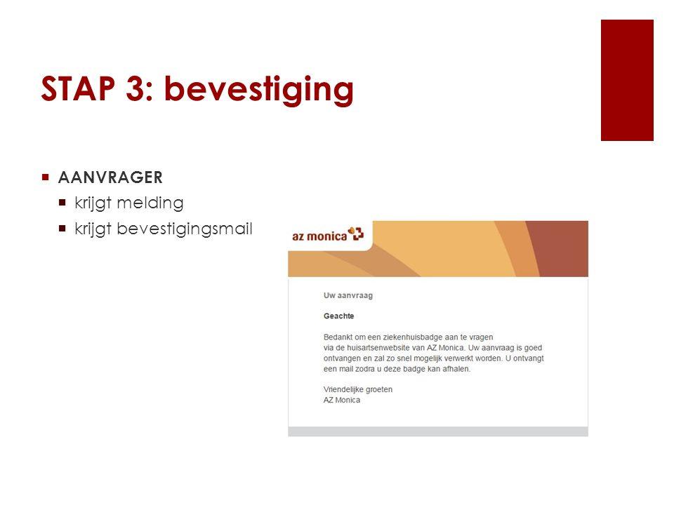 STAP 3: bevestiging  AANVRAGER  krijgt melding  krijgt bevestigingsmail