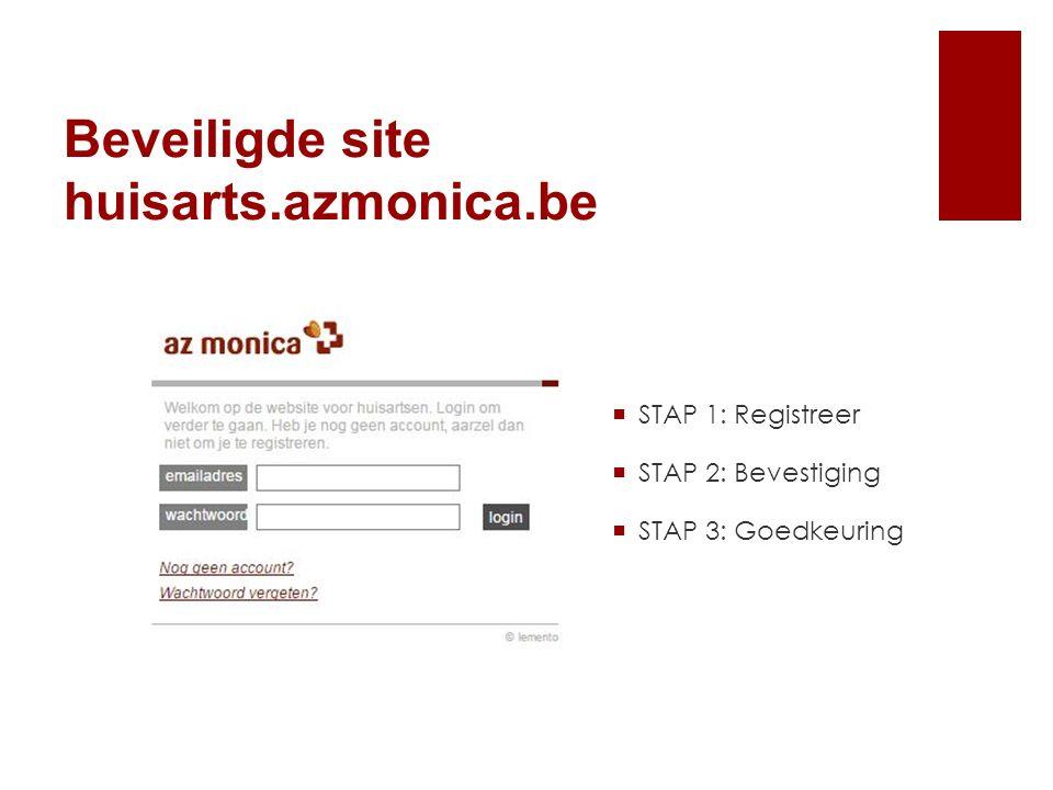  STAP 1: Registreer  STAP 2: Bevestiging  STAP 3: Goedkeuring Beveiligde site huisarts.azmonica.be