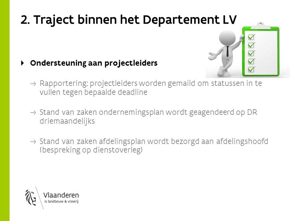 2. Traject binnen het Departement LV Ondersteuning aan projectleiders Rapportering: projectleiders worden gemaild om statussen in te vullen tegen bepa