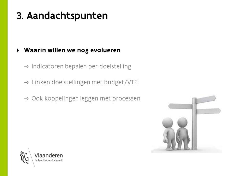 3. Aandachtspunten Waarin willen we nog evolueren Indicatoren bepalen per doelstelling Linken doelstellingen met budget/VTE Ook koppelingen leggen met