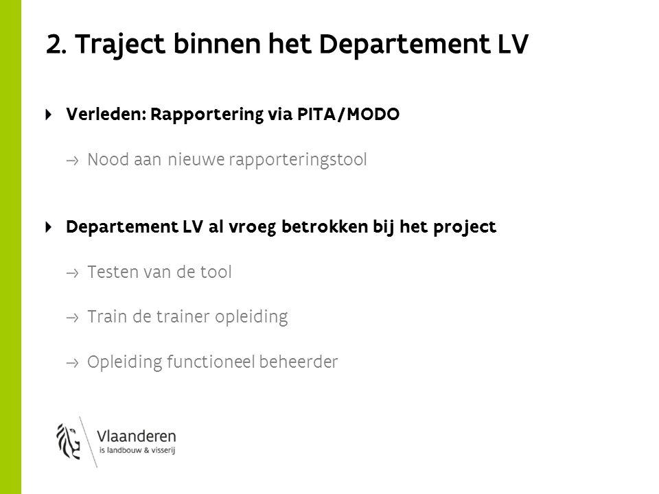 Verleden: Rapportering via PITA/MODO Nood aan nieuwe rapporteringstool Departement LV al vroeg betrokken bij het project Testen van de tool Train de trainer opleiding Opleiding functioneel beheerder