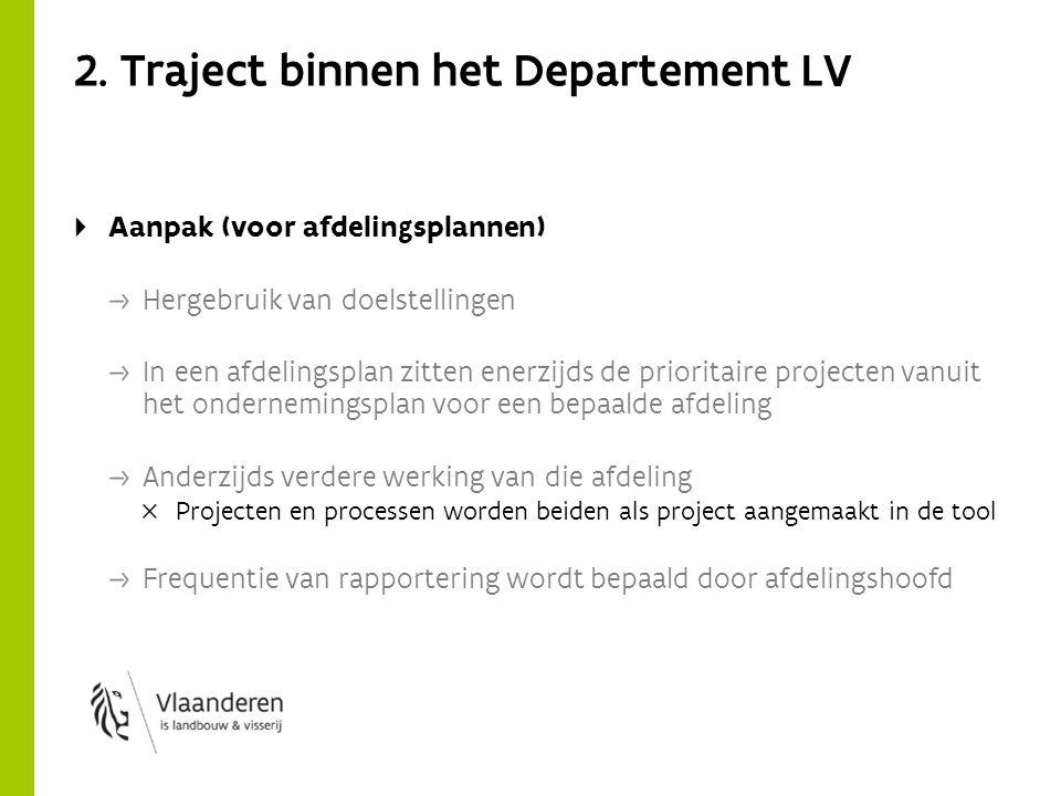 2. Traject binnen het Departement LV Aanpak (voor afdelingsplannen) Hergebruik van doelstellingen In een afdelingsplan zitten enerzijds de prioritaire