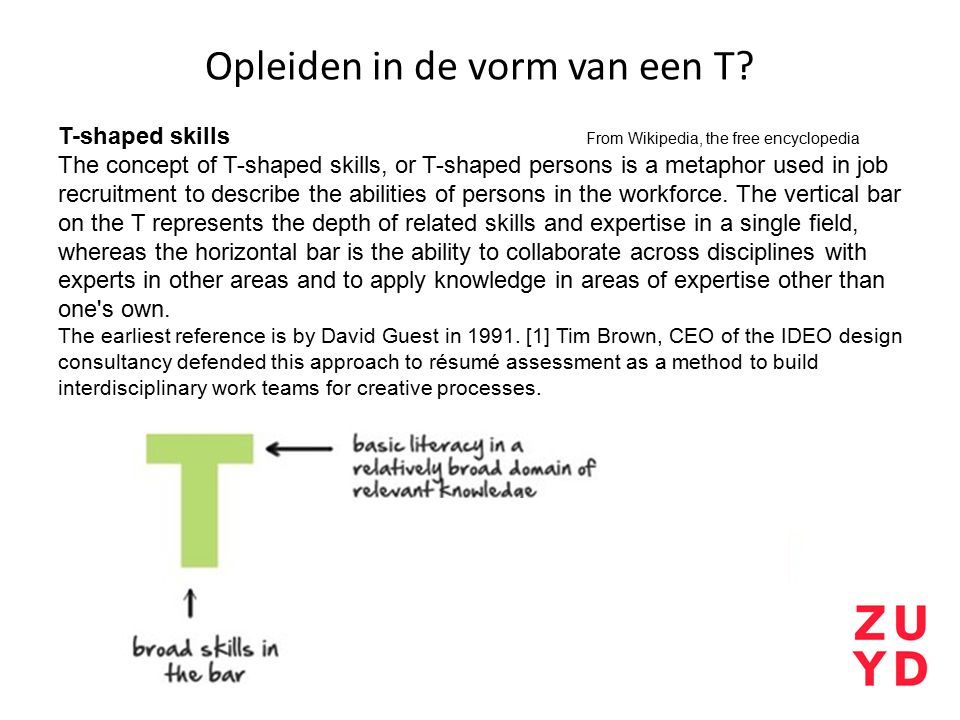 Opleiden in de vorm van een T? T-shaped skills From Wikipedia, the free encyclopedia The concept of T-shaped skills, or T-shaped persons is a metaphor