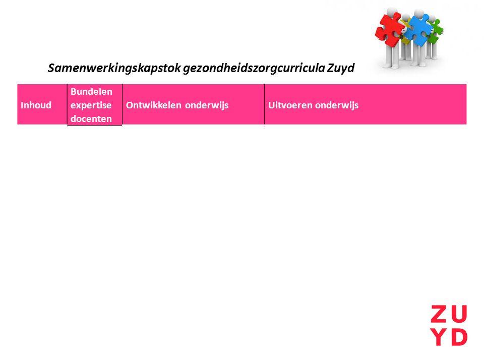 Inhoud Bundelen expertise docenten Ontwikkelen onderwijsUitvoeren onderwijs Samenwerkingskapstok gezondheidszorgcurricula Zuyd