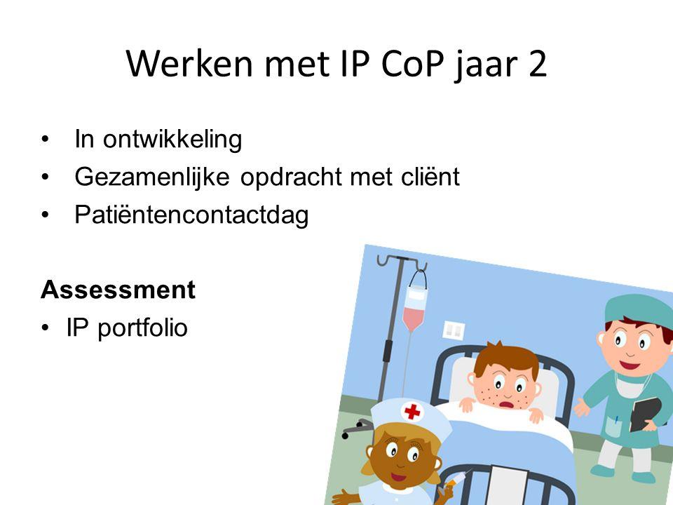 Werken met IP CoP jaar 2 In ontwikkeling Gezamenlijke opdracht met cliënt Patiëntencontactdag Assessment IP portfolio