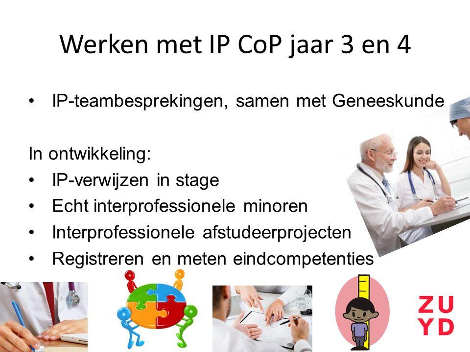 Werken met IP CoP jaar 3 en 4 IP-teambesprekingen, samen met Geneeskunde In ontwikkeling: IP-verwijzen in stage Echt interprofessionele minoren Interprofessionele afstudeerprojecten Registreren en meten eindcompetenties