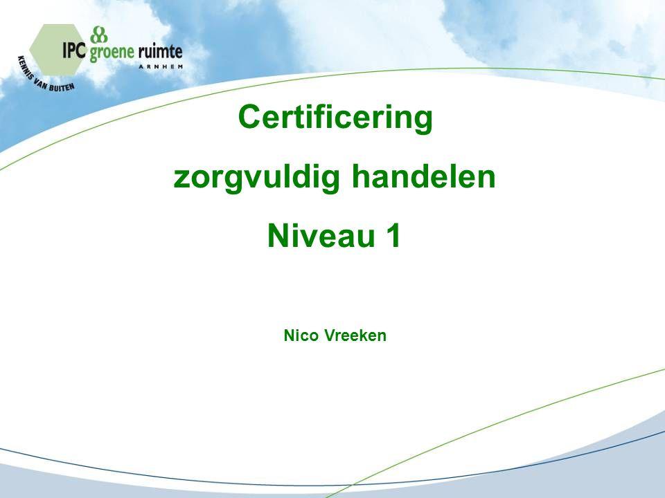 Certificering zorgvuldig handelen Niveau 1 Nico Vreeken