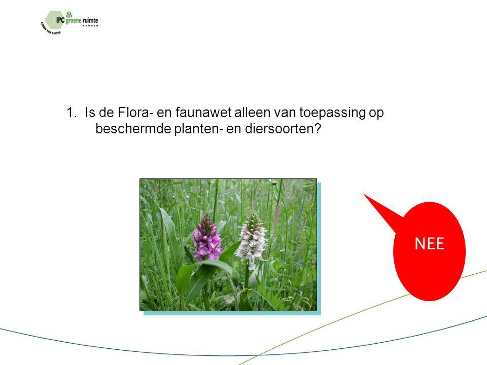 1. Is de Flora- en faunawet alleen van toepassing op beschermde planten- en diersoorten NEE