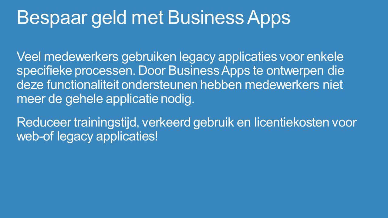 Bespaar geld met Business Apps Veel medewerkers gebruiken legacy applicaties voor enkele specifieke processen.