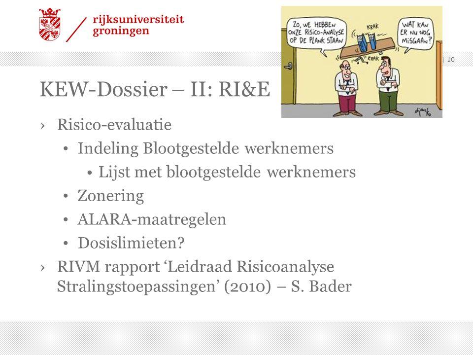 ›Risico-evaluatie Indeling Blootgestelde werknemers Lijst met blootgestelde werknemers Zonering ALARA-maatregelen Dosislimieten.