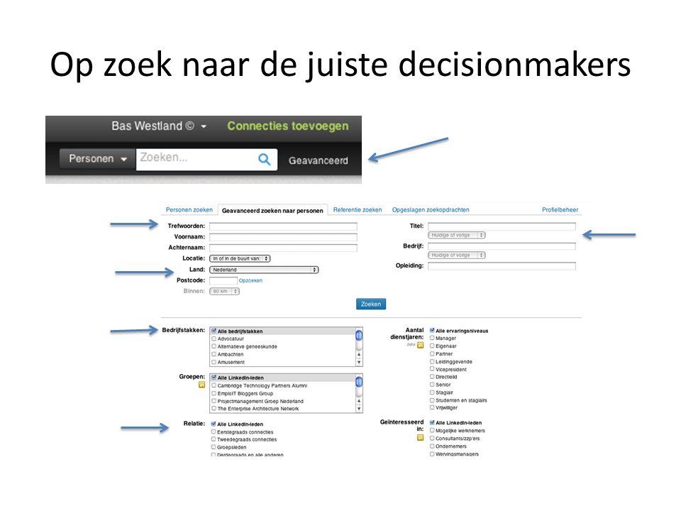 Op zoek naar de juiste decisionmakers