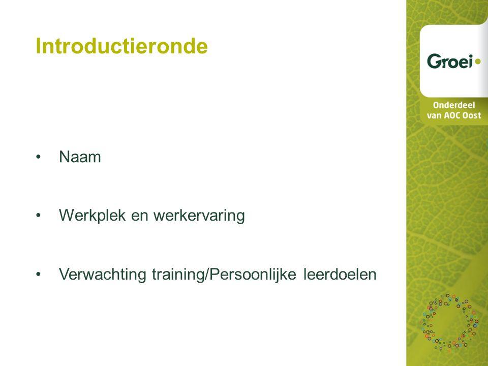 Introductieronde Naam Werkplek en werkervaring Verwachting training/Persoonlijke leerdoelen