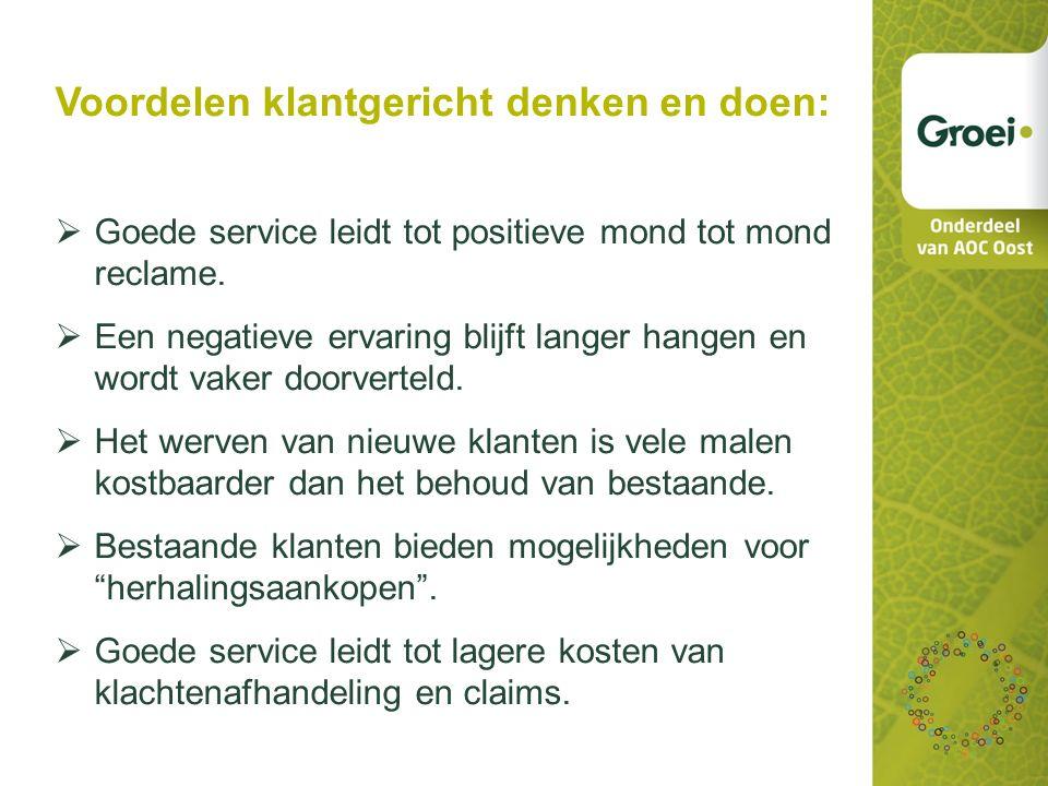 Voordelen klantgericht denken en doen:  Goede service leidt tot positieve mond tot mond reclame.
