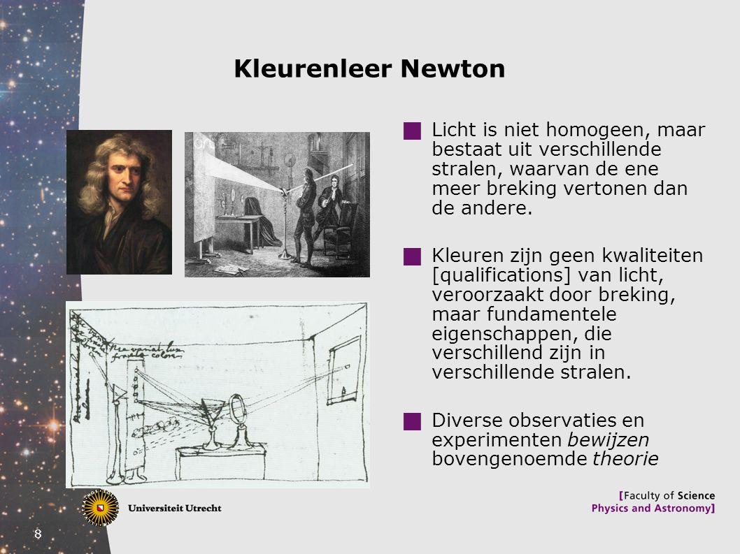 9 Conflicterend kleurenonderzoek Descartes vs.Newton Deductieve vs.