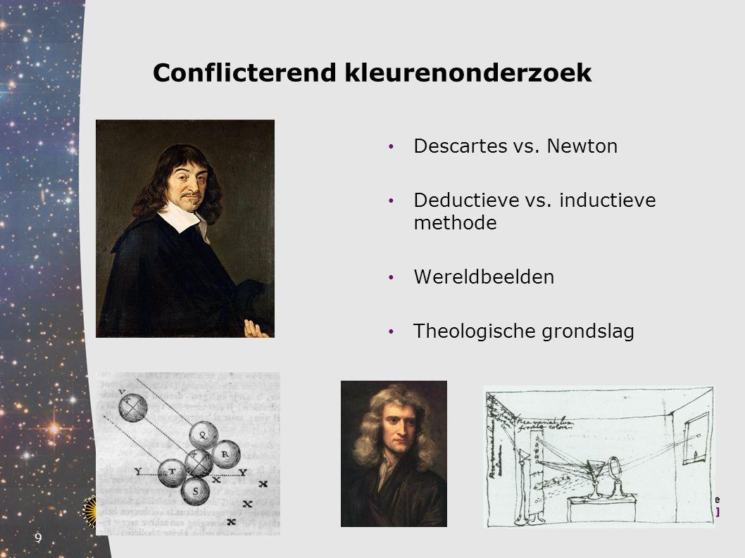 9 Conflicterend kleurenonderzoek Descartes vs. Newton Deductieve vs. inductieve methode Wereldbeelden Theologische grondslag