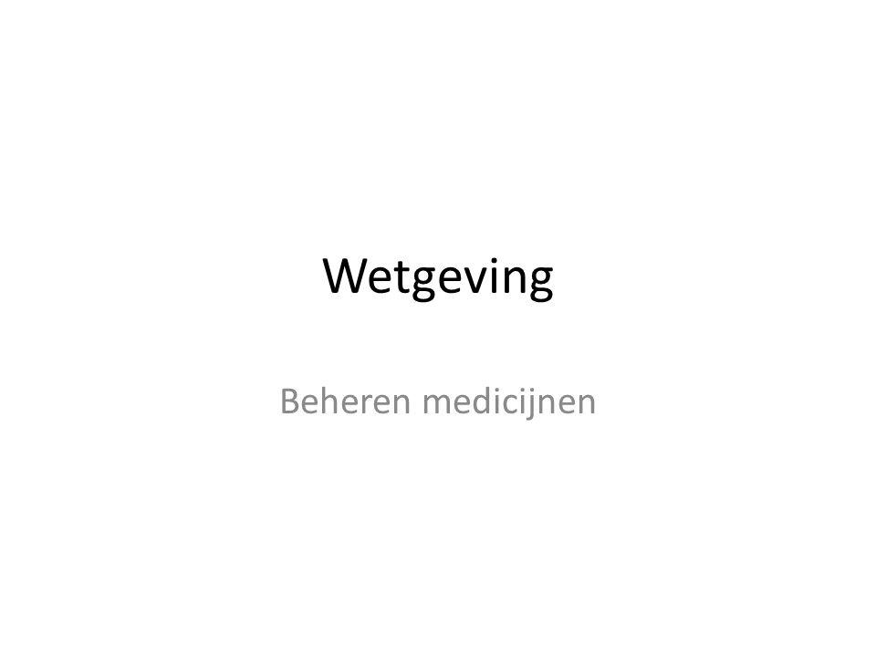 Wetgeving Beheren medicijnen