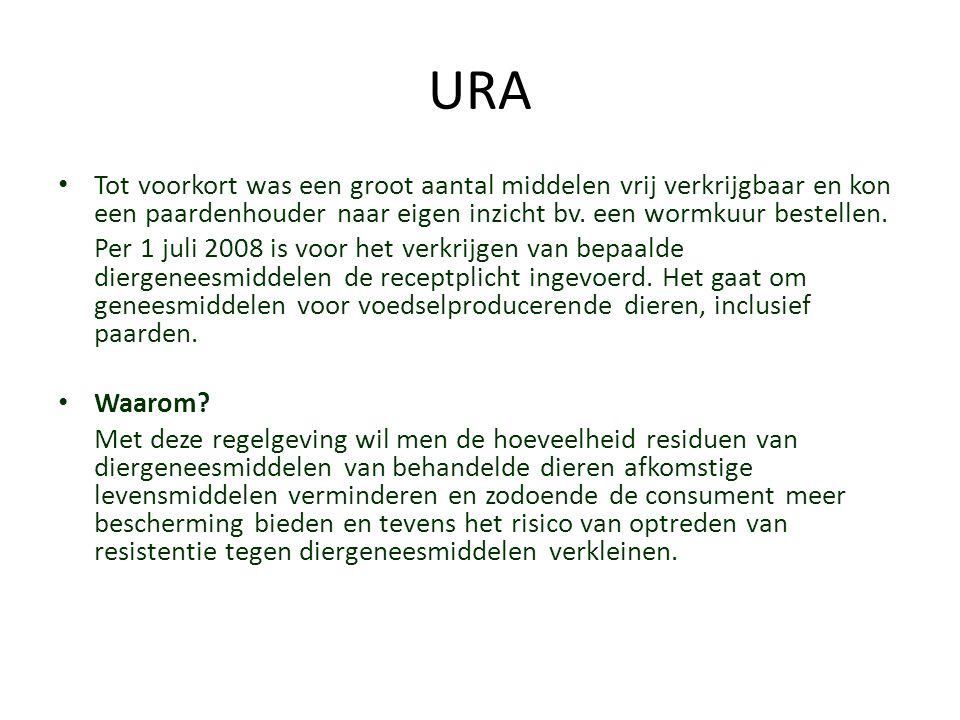 URA Tot voorkort was een groot aantal middelen vrij verkrijgbaar en kon een paardenhouder naar eigen inzicht bv. een wormkuur bestellen. Per 1 juli 20